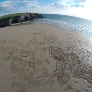 Corporate Team Building Sand Drawing Workshop, Nokia/Microsoft, Cornwall