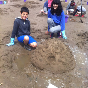 National Trust Sand Sculpture Workshops, Robin Hoods Bay