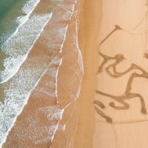 Sand Drawing made by horses, Watergate Bay Cornwall