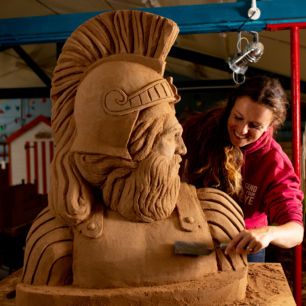 Sand Sculptor Claire Wardley with her sand creation