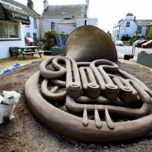 ENF French Horn Sand Sculpture, Scotland 2015