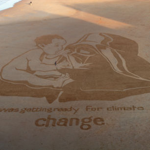 Climate Change Sand Drawing